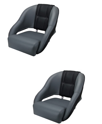 Boat Seat Sports Relaxn® Snapper Series Seat Grey/Black Carbon Alloy Frame X2