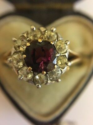 Antique Garnet And Old Cut Diamond Ring Set In Yellow Gold.