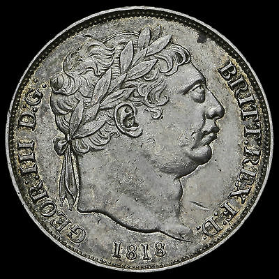1818 George III Milled Silver Sixpence, Scarce, GVF+