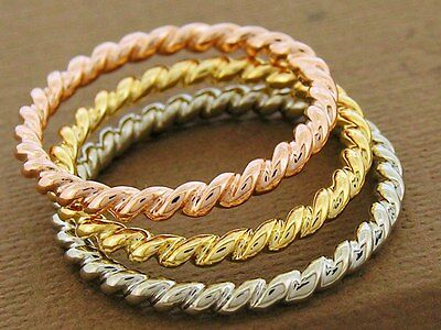 R253 Genuine 9ct Solid Rose Gold Stackable Rope Twist Ring Wedding Band size N