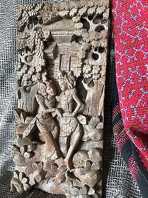 Old Balinese Deep Carved Wooden Wall Hanging (C) …beautiful Carved