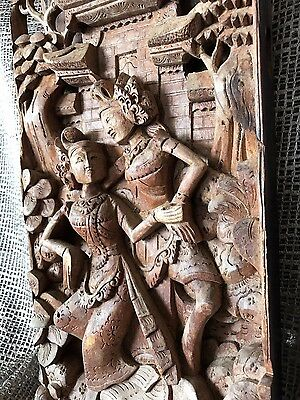 Old Balinese Deep Carved Wooden Wall Hanging (D) …beautiful Carved