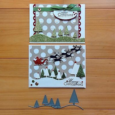 "IMPRESSION OBSESSION CHRISTMAS TREE LINE SNOW SCENE Cutting Die ""REDUCED"" BNIP"