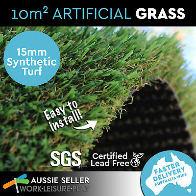 10 SQM Synthetic Artificial Grass Turf Plastic Olive Plant Lawn Flooring 15mm