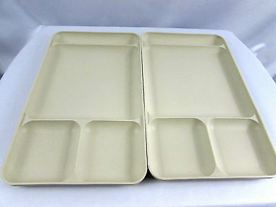 2 Tupperware Almond Divided TV School Lunch Cafeteria  Craft Dinner Trays