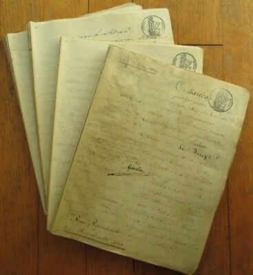 1829 Vellum Documents: 116 Sheets (232 Pages), French w/Tax Stamps, Hand-Written