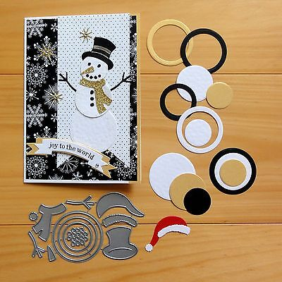 IMPRESSION OBSESSION SNOWMAN CHRISTMAS WINTER CIRCLES Set Cutting Dies - BNIP