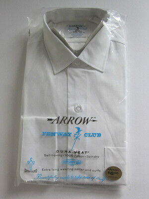 Vintage Arrow Fenway Club White Cotton Dress Shirt NOS NIP Small Long Sleeve