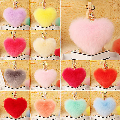 Nice Rabbit Fur Heart Shape Ball  Charm Car Keychain Handbag Pendant Key Ring