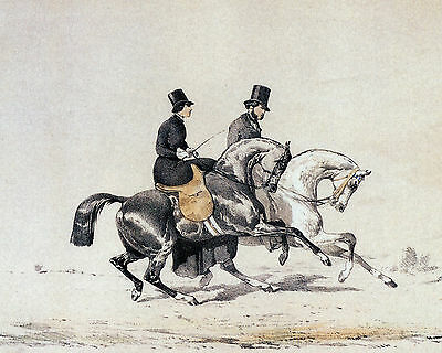 8x10 Equestrian De Dreux Print Couple Lady Rides Side Saddle Ride with Gentleman