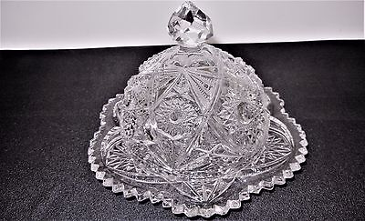 vintage depression glass Round Covered Butter Dish w/ Lid Pressed Glass