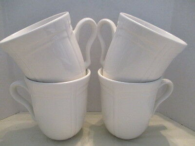 "4 Gibson ""LeClaire"" White Embossed Stoneware Everyday Coffee Cups/Mugs"