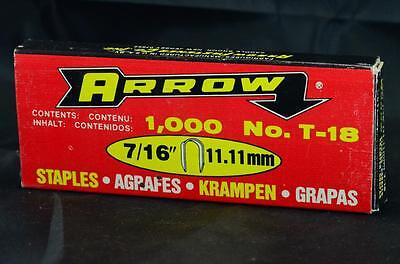 "NEW Arrow Box of 1000 T-18 Electrical 7/16"" 11.11mm Industrial Staples"
