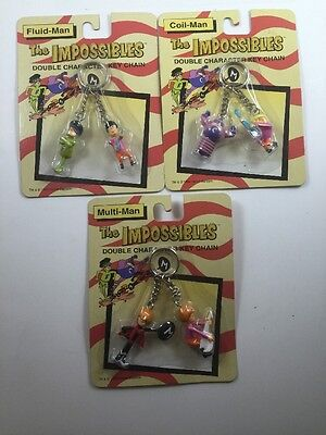 NEW - The Impossibles Double Character Keychain Figures- Lot Of 3 Pairs.
