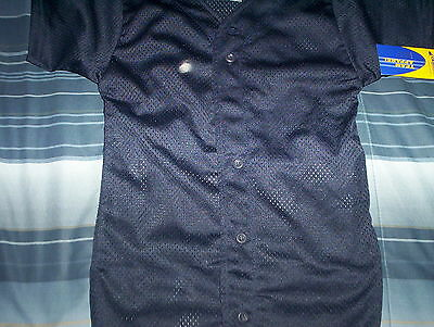 Champro- Button Down-Baseball Jersey-New-Tags-Blue-Youth  Large