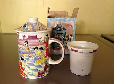 Asian Chinese tea cup/mug with lid and removeable strainer/infuser