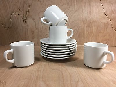 Vintage Restaurant Ware Diner  4 Coffee Tea Cups Mugs 7 Saucers White (LOT)