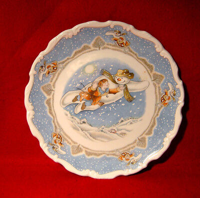 """Royal Doulton Plate """"walking In The Air"""" Snowman Gift Collection Christmas"""