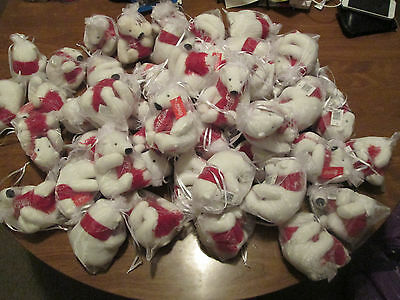 LOT 47 COCA-COLA plush POLAR BEAR 2016 with RED KNIT SCARF Coke Christmas 3-4""