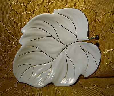 CARLTON WARE CREAM LEAF DISH with GOLD TRIM MADE IN ENGLAND