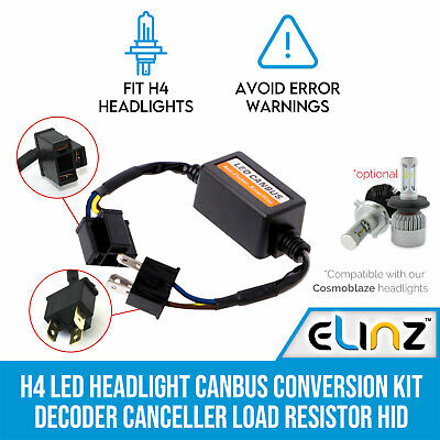 H4 LED Headlight Canbus Conversion Kit Decoder Canceller Load Resistor HID Xenon