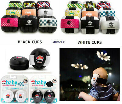 ~Ems 4 Bubs Baby Safety Earmuffs Hearing Protection~BLACK OR WHITE Em's For Kids