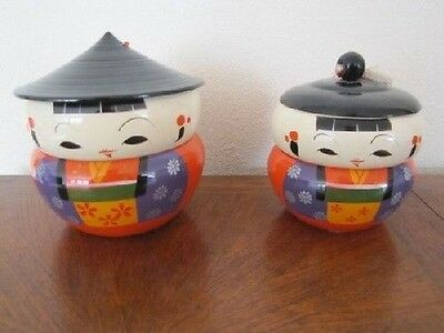 2 Vintage Japanese Kokeshi Bento Boxes Stackable Containers Lacquer Lucite Japan