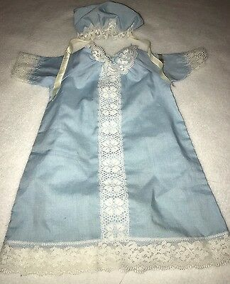 Vintage Cabbage Patch Preemie Blue Gown and Bonnet Hat Outfit