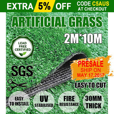 20SQM Synthetic Artificial Grass Plastic Plant Fake Lawn Flooring Durable 30mm