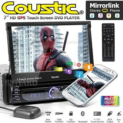 "COUSTIC MCX-1705 7"" Single DIN Sat Nav USB Mirror Link Car CD DVD Player Stereo"