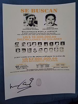 Narcos - ROBERTO  ESCOBAR auto autographed Wanted signed 8x10 with PABLO Escobar
