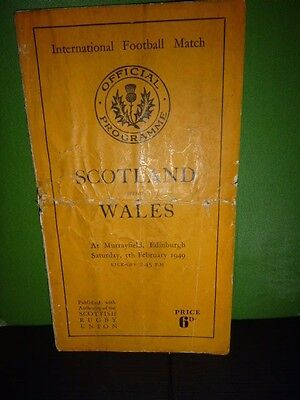 Scotland V Wales Rugby Programme 1949 ( Note Programme Not In Best Condition )