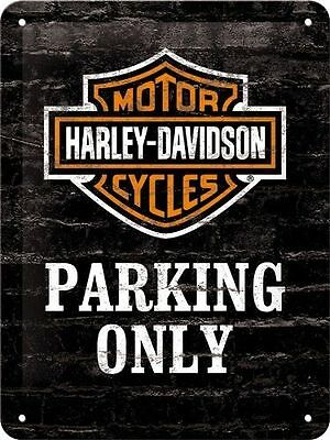 Metal Embossed Sign Harley Davidson - Only Parking - Embossed