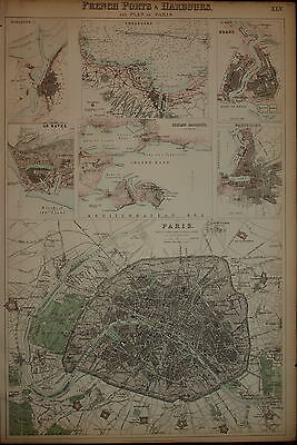 French Ports & Harbours And Plan Of Paris By Archibald Fullarton 1874.