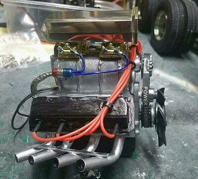 v8 1/10 engine runs with motor thats in the supercharger drift crawler axial rc