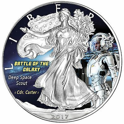 """USA 1 Unze Silber Eagle Farbe 2017 """"Deep Space Scout - Battle of the Galaxy"""""""