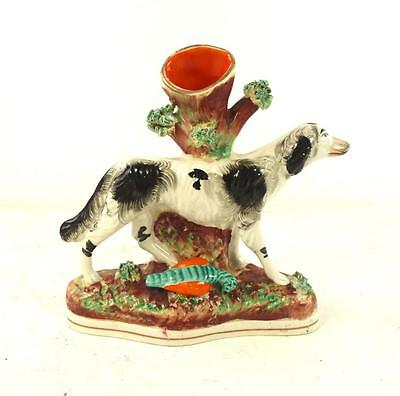 Antique 19Th Century Staffordshire Figure Of Dog & Bird Spill Vase