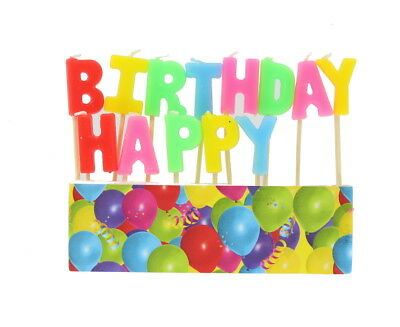 Happy Birthday Bright Coloured Cake Candles