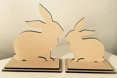 Wooden Rabbit Bunny Set On Stand Easter Decoration Mdf 12&15 Cm