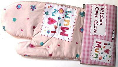 Kitchen oven glove, I love my Mum, ideal gift Birthday, Mothers day, checked new