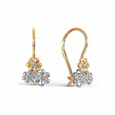 585/14ct Russian Rose Gold Flower Hook Earrings Gift Boxed