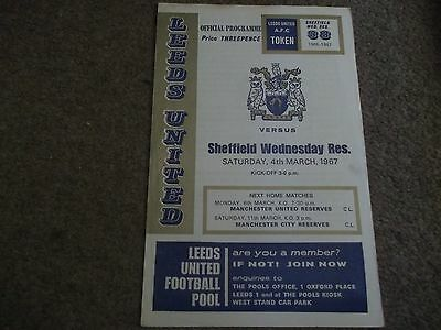 Leeds United V Sheffield Wednesday Reserves Central League 4Th March 1967