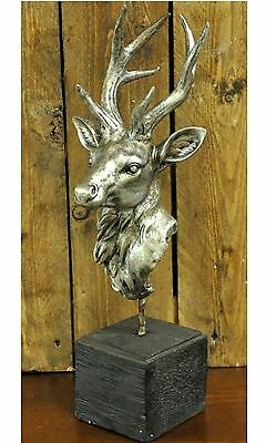 Antique Silver Stag Head on Base Ornament MIN2415