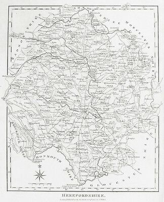 OLD ANTIQUE MAP HEREFORDSHIRE c1806 by J WILKES ENGRAVING