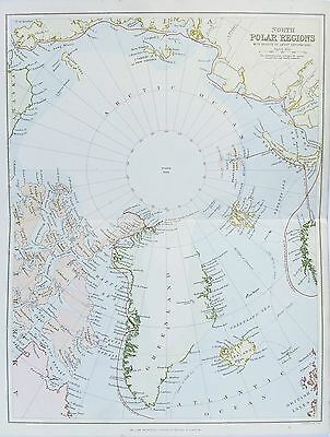OLD ANTIQUE MAP NORTH POLAR REGIONS ARCTIC NORTH POLE c1880's by MACKENZIE