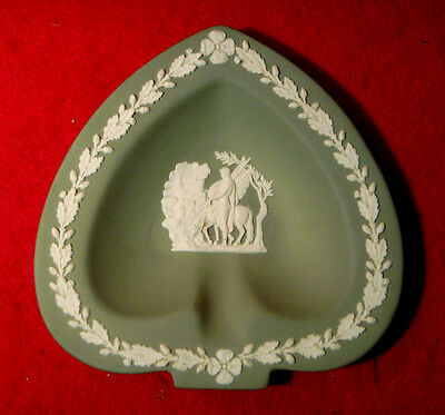 Wedgwood Jasperware Celadon Green Heart Shaped Pegasus Ashtray / Pin Dish