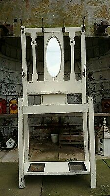 Antique Oak Hall Stand Vintage Shabby Chic painted mirror hooks coat shoe stand
