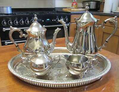 Old Regency Style Silver Plate Teapot Coffee Set Teapot Jug Sugar Bowl and Tray
