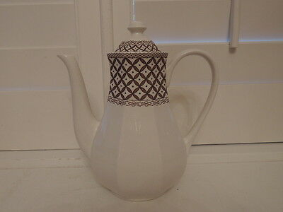 Vintage Liberty Ironstone J & G Meakin Wicker Coffee Pot Brown & White
