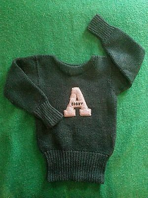 Fab Vtg Youth Athletic/schoolboy Sweater☆*bobby*/a Patch☆Forest Green☆All Wool